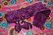 Vintage 1970's Velvet Paisley burgundy very large bow tie and waist band