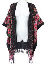 """New Black Multi Floral Short Duster Jacket Wrap Top Plus Size 4X 5X 6X, L32"""""""