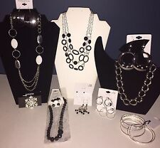 Jewelry Lot 10 New Mixed Items - Necklaces, Bracelets, Earrings - #38 Black Slvr