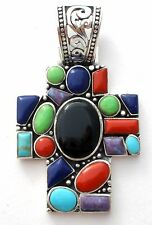 Large Cross Pendant Sterling Silver Slide Black Onyx Lapis Turquoise Coral New