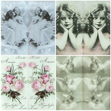 4 x Single Luxury Tissue for Decoupage and Craft Angel Mix handkerchiefs