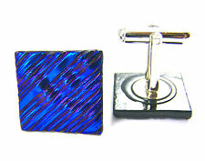 Cuff Links DICHROIC Fused GLASS Cobalt Blue Striped Ripple Mens Formal Wear