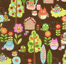 Moda Keiki Cherry On Top Owls Chocolate Fabric
