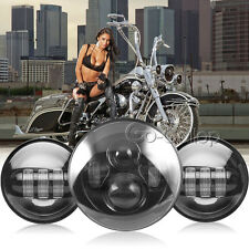"7"" LED Daymaker Projector Headlight +4.5"" Passing Light Fit Harley Electra Glide"