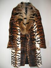 NEW WITH TAGS ROBERTO CAVALLI LAPIN TIGER PRINT COAT WITH GOLD FOX COLLAR