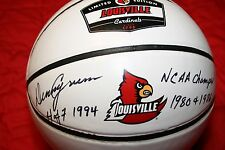 "DENNY CRUM AUTOGRAPHED SIGNED LOUISVILLE CARDINALS LOGO BASKETBALL ""NCAA CHAMPS"""