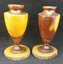 Vintage Mid Century Pair 15cm Tall Turned Vases on Plinth, Australian Mulga Wood
