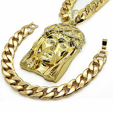 "Mens 14k Gold Plated Hip Hop Large Crown Jesus 14mm 30"" Cuban Chain and Bracelet"