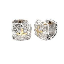Andrea Candela 18k Gold Sterling Silver Diamond Vintage Cable Earrings ACE382/09