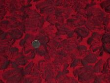 ITALIAN  FLORALTWILL BROCADE-RED/BLACK-DRESS/BRIDAL FABRIC-FREE P&P