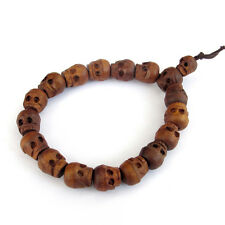 Tibetan Buddhist Jujube Wood Carved Skull Prayer Beads Mala Bracelet