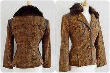 1940's 30's style tweed jacket leatherette trim HERITAGE shooting WW2 fur 14 38