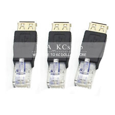 3PC USB A Female F to Ethernet RJ45 Male Router Adapter Plug Socket LAN Network