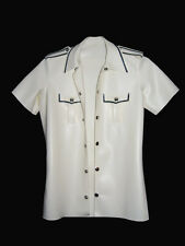 White Rubber Latex Military Style Shirt 0.35mm  / Size S