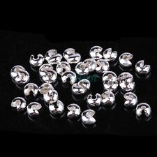 3mm,4mm,5mm Silver Plated Conceal Knot Cover Crimp End Beads