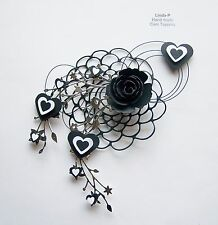 3D HEARTS, FLOWER & WIRE DESIGN CARD CRAFT TOPPER GEN 43-3 BLACK