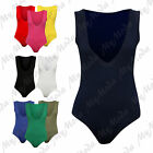 Ladies Women's Low V Neck Sleeveless Fitted Stretch Bodysuit Leotard Plus 8-22