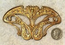 VINTAGE HUGE ART NOUVEAU BRASS STAMPINGS FINDINGS 2 PIECES