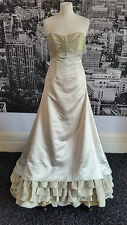 Magnificent Gown with Train (Golden Ivory) Wedding, Pageant, Ball, Prom, Theatre