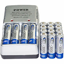 16x AA 2A 3000mAh 1.2 V Ni-MH BTY Rechargeable Battery Cell+ AA Battery Charger