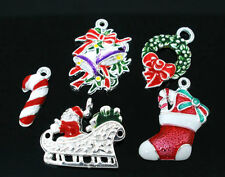 10 PCs Mixed Silver Plated Enamel Christmas Lots Charms Pendants