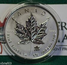 2004 CANADA $3 Privy Mark Silver Maple Leaf 1/4 oz Reverse proof 99.99% silver