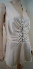 BASTYAN Cream Silk Sheen Ruched Diamante Front Sleeveless Evening Party Top UK16