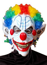Sinister Mr. Clown Scary Halloween Latex Mask with Multicolor Hair - NEW