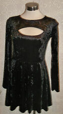 PUNK/GOTH/BLACK  VELOR DRESS Dress size12-CUT-OUT SECTION AT BUST,FLOATY SKIRT.