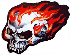 FLaming Skull Totenkopf Flammen Biker Aufnäher  Patch Back  XL XXL