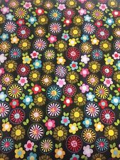 Black with Brightly Coloured Flowers Riley Blake Fabric FQ + More 100% Cotton