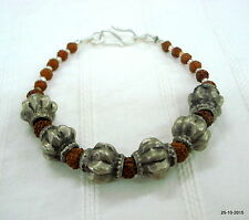 vintage antique ethnic tribal old silver rudraksha beads bracelet cuff jewelry