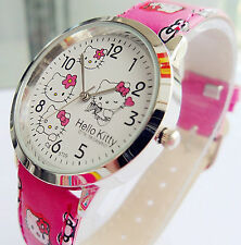 Lady Girl Hello Kitty Print Pink Wrist Watch Christmas Birthday Easter Gift