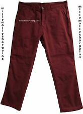 New Mens Marks & Spencer Dark Red Maroon Slim Trousers Waist 34 L30 LABEL FAULT