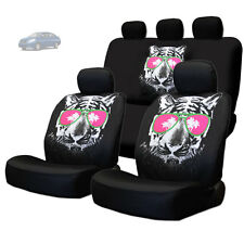 NEW BLACK FABRIC TIGER FACE LOGO FRONT AND REAR CAR SEAT COVERS SET FOR NISSAN