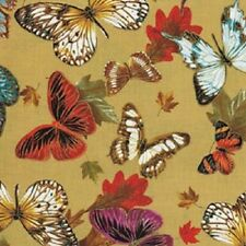 Fat Quarter Autumn Fauna Butterflies Tan Cotton Quilting Fabric  50cm x 55cm
