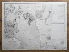 1860 Grecia euripos canale stretto KHALKIS Admiralty vecchia mappa del grafico