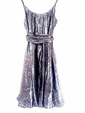 NEW SIZE 12 FRENCH CONNECTION METALLIC SILVER & BLACK FLOCK DRESS