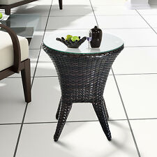Outsunny Round Rattan Tea Table Wicker Tempered Glass Top Side Outdoor Gard