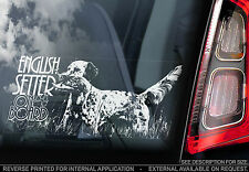 English Setter - Car Window Sticker - English Gundog Dog on Board Sign Art Gift