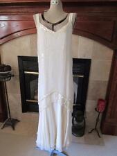 Vtg FLAPPER Style OLEG CASSSINI Ivory Sequin & Beaded Dress w/ Scarf & Wrap