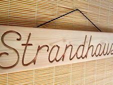 STRANDHAUS - großes Dekoschild, Holz, Douglasie, massiv, für Garten, Pool, 59 cm