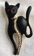 VINTAGE BLACK ENAMEL JAPANNED CAT BROOCH RHINESTONE TRIM