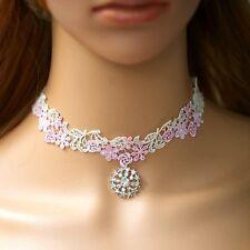 Choker weiss rosa Gothic Spitze Collier Kragen Victorian Halsband Barock Blumen