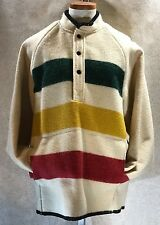 Land's End Wool Pullover Coat L USA Striped Green Yellow Red Hudson Bay Style