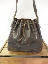 DANIER Dark Brown Distressed Croc Print Leather Drawstring Bucket Bag Hobo Purse