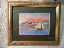 WOODEN SAILBOAT and Lighthouse SEASCAPE Pastel Signed MOSHE