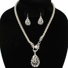 Teardrop Paisley Scroll Pendant Bead Chain Necklace & Drop Earring  Silvertone