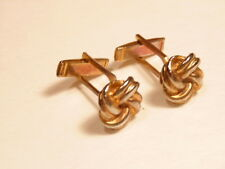 Older gold colored basket weave style cufflinks
