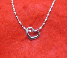 14KT WHITE GOLD EP 16 INCH 2MM TWISTED NUGGET CHAIN NECKLACE W/ FLOATING HEART